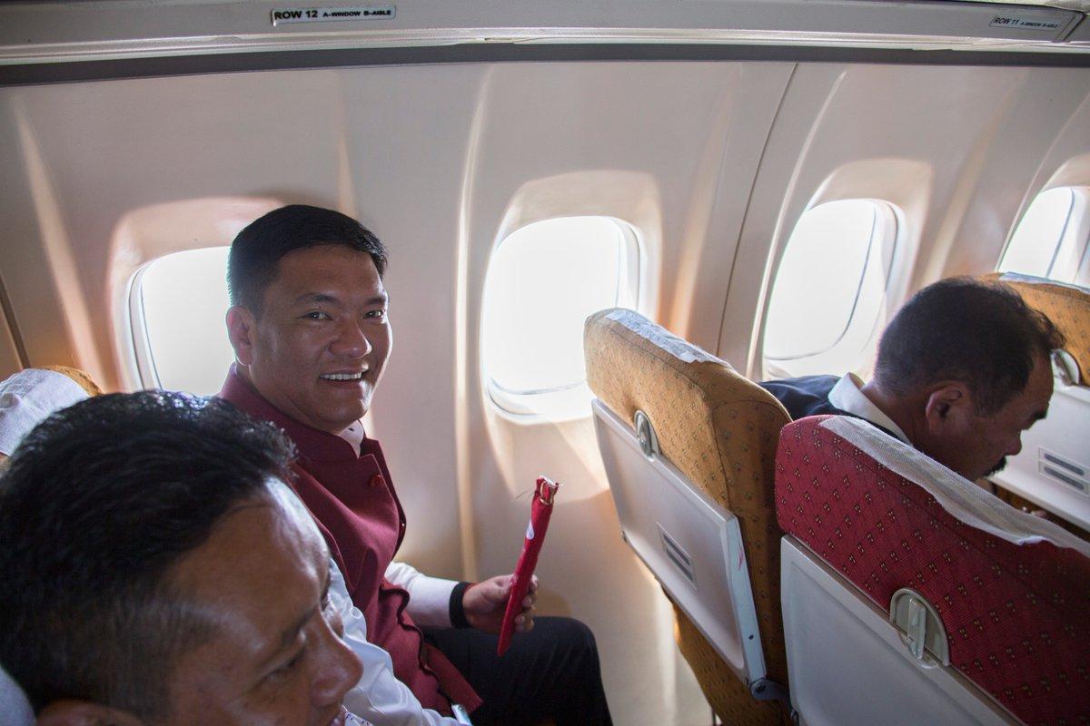 Pema Khandu inside aircraft